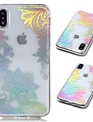 Недорогие -Кейс для Назначение Apple iPhone X / iPhone 8 Plus Покрытие / Прозрачный / С узором Кейс на заднюю панель Кружева Печать Мягкий ТПУ для
