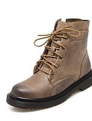 baratos -Mulheres Sapatos Couro Outono & inverno Coturnos Botas Sem Salto Botas Cano Médio para Escritório e Carreira / Ao ar livre Preto /