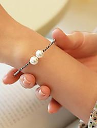 preiswerte -Damen Perle Süßwasserperle Armreife Manschetten-Armbänder - S925 Sterling Silber, Süßwasserperle Süß, Modisch, Elegant Armbänder Silber Für Geschenk Alltag