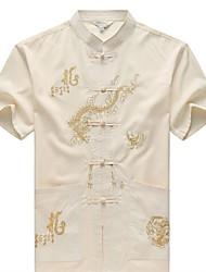 Недорогие -Муж. Вышивка Рубашка Винтаж / Шинуазери (китайский стиль) Контрастных цветов / Животное