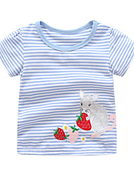 Недорогие -Дети / Дети (1-4 лет) Девочки Rabbit Полоски / Пэчворк С короткими рукавами Футболка