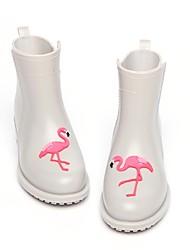 Недорогие -Жен. Обувь КожаПВХ / Резина Весна лето Резиновые сапоги Ботинки На низком каблуке Ботинки Черный / Серый