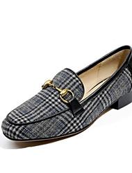 Недорогие -Жен. Обувь Ткань Весна / Осень Удобная обувь Мокасины и Свитер На плоской подошве Черный / Бежевый