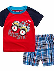 Недорогие -Дети (1-4 лет) Мальчики Черный и красный С принтом / Контрастных цветов С короткими рукавами Набор одежды