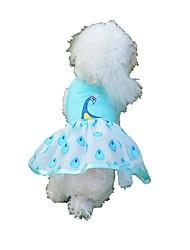 baratos -Cachorros / Gatos / Animais de Estimação Vestidos Roupas para Cães Estampado / Voile / Transparente / Princesa Azul Algodão / Poliéster