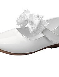 cheap -Girls' Shoes Leatherette Spring & Fall Comfort / Flower Girl Shoes Flats Bowknot / Hook & Loop for Kids White / Beige / Wedding