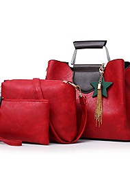 baratos -Mulheres Bolsas PU Conjuntos de saco 3 Pcs Purse Set Ziper Rosa / Cinzento / Marron