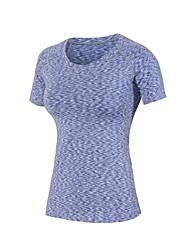 お買い得  -女性用 ランニングTシャツ 半袖 ライトウェイト, 速乾性, 伸縮性 Tシャツ のために ピラティス / エクササイズ&フィットネス / 戸外運動 ポリエステル, スパンデックス パープル / レッド L / XL / XXL