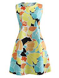 baratos -Mulheres Moda de Rua Reto Vestido - Estampado, Floral Acima do Joelho