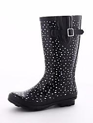 Недорогие -Жен. Обувь Латекс Осень Резиновые сапоги Ботинки На низком каблуке Сапоги до середины икры Черный