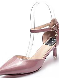 baratos -Mulheres Sapatos Couro Envernizado Verão Conforto Saltos Salto Agulha Dedo Apontado Roxo / Rosa claro / Amêndoa