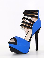 お買い得  -女性用 靴 PUレザー 夏 ベーシックサンダル サンダル スティレットヒール オープントゥ / ピープトウ のために アウトドア ブルー