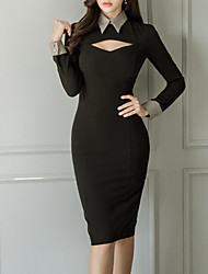 cheap -Women's Sophisticated Bodycon Dress - Solid Colored Cut Out