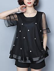 preiswerte -Damen Solide T-shirt / Durchsichtig