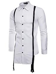 Недорогие -Муж. Для вечеринок Рубашка Хлопок Уличный стиль / Панк & Готика Однотонный Черный и красный / Черное и белое / Длинный рукав