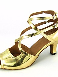 cheap -Women's Latin Shoes PU(Polyurethane) Heel Stiletto Heel Dance Shoes Gold / Black / Red / Performance / Leather / Practice