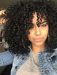 Недорогие -Синтетические кружевные передние парики Кудрявый Черный Средняя часть Черный / коричневый Черный 150% Человека Плотность волос Искусственные волосы Жен. / Вино / Жаропрочная / Природные волосы
