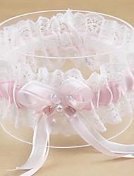 baratos -Poliéster Moderna / Casamento Wedding Garter Com Acrilíco / Laço / Perola Imitação Ligas Casamento / Festa