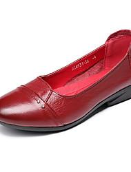baratos -Mulheres Sapatos Couro Primavera Verão Bailarina Rasos Salto de bloco para Preto / Vermelho