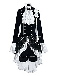 cheap -Inspired by Black Butler Ciel Phantomhive Anime Cosplay Costumes Cosplay Suits Color Block Patchwork Long Sleeves Vest Shirt Skirt