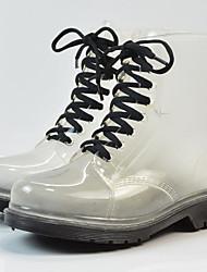 Недорогие -Жен. Обувь КожаПВХ Лето Резиновые сапоги Ботинки На низком каблуке Черный / Зеленый / Розовый