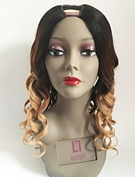 cheap -Remy Human Hair U Part Wig Peruvian Hair Wavy Blonde Wig Layered Haircut 130% Ombre Hair / Dark Roots Blonde Women's Short / Long / Mid Length Human Hair Lace Wig
