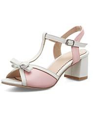 abordables -Mujer Zapatos Semicuero Verano Confort Sandalias Tacón Cuadrado Punta abierta Blanco / Negro / Rosa / Fiesta y Noche