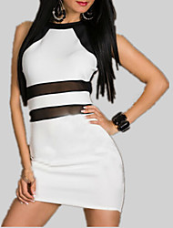 cheap -Women's Sheath Dress - Solid Colored / Striped Mesh / Patchwork