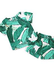 cheap -Adults / Kids / Toddler Boys' Tropical Leaf Floral Short Sleeve Swimwear