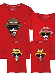 baratos -4 Peças Bébé Olhar de família Estampa Colorida / Letra Manga Curta Camiseta