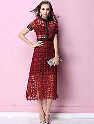 baratos -Mulheres Sofisticado / Moda de Rua Evasê Vestido - Renda, Sólido Médio
