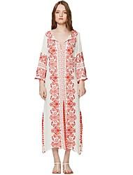 abordables -Mujer Tejido Oriental Recto Vestido - Bordado, Geométrico Maxi