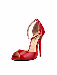 preiswerte -Damen Schuhe PU Frühling Herbst Pumps High Heels Stöckelabsatz Peep Toe Schnalle für Hochzeit Party & Festivität Schwarz Rot