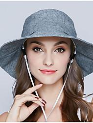 abordables -Femme Coton Vacances Chapeau de soleil Couleur Pleine