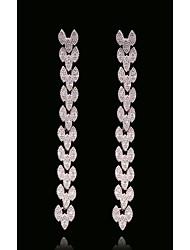 abordables -Femme Cristal Glands / Long - Forme de Feuille, Flocon de Neige Européen, Mode Blanc et argent Pour Plein Air / Vacances