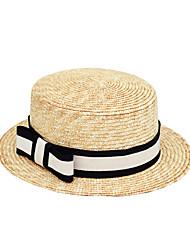 baratos -Mulheres Vintage / Férias Linho, De Palha / Chapéu de sol - Laço Houndstooth / Primavera / Verão