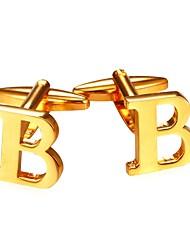 baratos -Letra Prata Dourado Botões de Punho Chapeado Dourado Fashion Diário Rua Homens Jóias de fantasia
