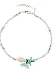 baratos -Pérola Tornezeleira - Pérola, Imitação de Pérola Estrela do Mar, Concha Azul Claro Para Diário / Bikini / Mulheres