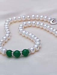 cheap -Women's Onyx Choker Necklace  -  Pearl, S925 Sterling Silver, Freshwater Pearl Ball Natural, Fashion Dark Red, Dark Green 45 cm Necklace 1pc For Party, Daily