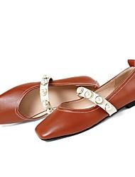 Недорогие -Жен. Обувь Кожа Весна лето Туфли Мери-Джейн На плокой подошве На плоской подошве Квадратный носок для на открытом воздухе Белый /