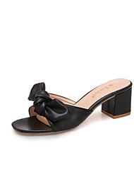 abordables -Femme Chaussures Polyuréthane Eté Confort Chaussons & Tongs Talon Bottier Bout rond Noeud Noir / Beige / Kaki