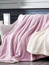 Недорогие -Коралловый флис, Крашенный в пряже Однотонный Хлопок / полиэфир Акриловые волокна одеяла