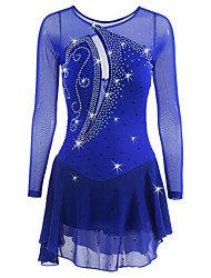 cheap -Figure Skating Dress Women's Girls' Ice Skating Dress Dark Blue Spandex Rhinestone Sequin High Elasticity Performance Skating Wear Quick