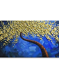 cheap -STYLEDECOR Modern Hand Painted Gold Flowers Tree in The Blue Background Oil Painting on Canvas Wall Art
