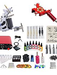 billiga -Tattoo Machine Startkit - 2 pcs Tatueringsmaskiner med 7 x 15 ml tatueringsfärger, Professionell, Kits Mini strömförsörjning No case 2 x legering tatuering maskin för lining och skuggning