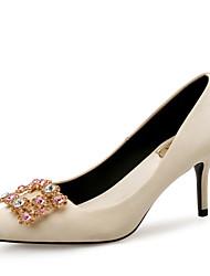 preiswerte -Damen Schuhe Seide Frühling Sommer Komfort / Pumps High Heels Stöckelabsatz Spitze Zehe Glitter Grau / Mandelfarben / Party & Festivität