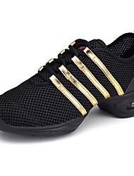 preiswerte -Damen Tanz-Turnschuh Netz Sneaker Training / Leistung / Draussen Seide aushöhlen Blockabsatz Schwarz und Gold 1 - 1 3/4inch Maßfertigung