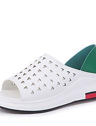 Недорогие -Жен. Обувь Резина Лето Удобная обувь Сандалии На низком каблуке Черный / Красный / Зеленый