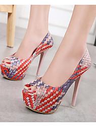 baratos -Mulheres Sapatos Courino Primavera Plataforma Básica / Conforto Saltos Salto Agulha para Arco-íris / Vermelho