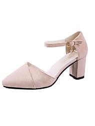 Недорогие -Жен. Обувь Замша Весна лето Удобная обувь Обувь на каблуках На толстом каблуке Заостренный носок Стразы Черный / Серый / Розовый